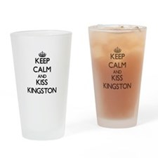 Keep Calm and Kiss Kingston Drinking Glass