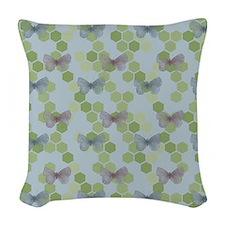 Green Butterflies Woven Throw Pillow
