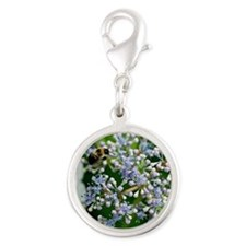 Bee and Flowers  Silver Round Charm