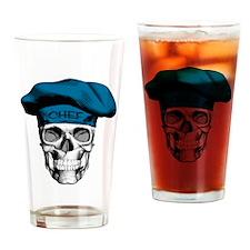 Blue Chef Skull Drinking Glass