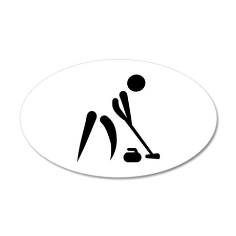 Curling player symbol 35x21 Oval Wall Decal