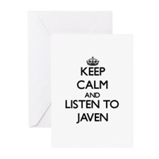 Keep Calm and Listen to Javen Greeting Cards