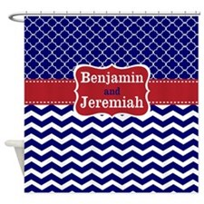 Navy Red Quatrefoil Chevron Personalized Shower Cu