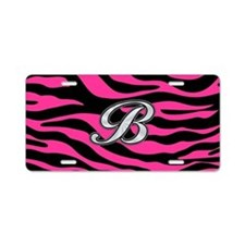 HOT PINK ZEBRA SILVER B Aluminum License Plate