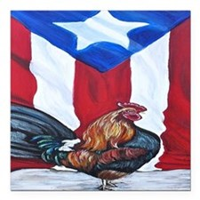 "El Que Canta Rooster and Square Car Magnet 3"" x 3"""