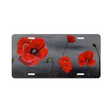 Show Off Poppies Aluminum License Plate