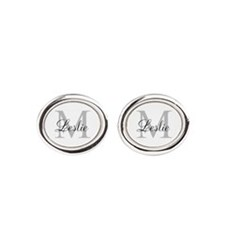 Monogram Name and Initial Oval Cufflinks
