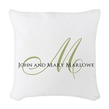 Names and Monogrammed Initial Woven Throw Pillow