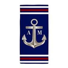 Navy Red Anchor Monogram Beach Towel