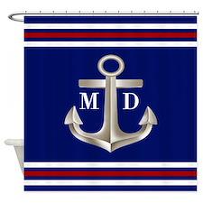 Navy Red Anchor Monogram Shower Curtain