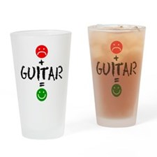 Plus Guitar Equals Happy Drinkware Drinking Glass