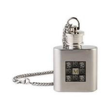 Beautiful Photo Block and Monogram Flask Necklace