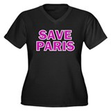 Save Paris Women's Plus Size V-Neck Dark T-Shirt