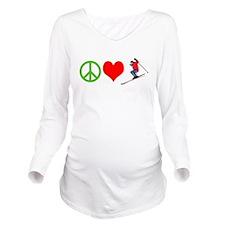 PEACE, LOVE, SKI Long Sleeve Maternity T-Shirt