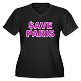 $ave Paris Women's Plus Size V-Neck Dark T-Shirt