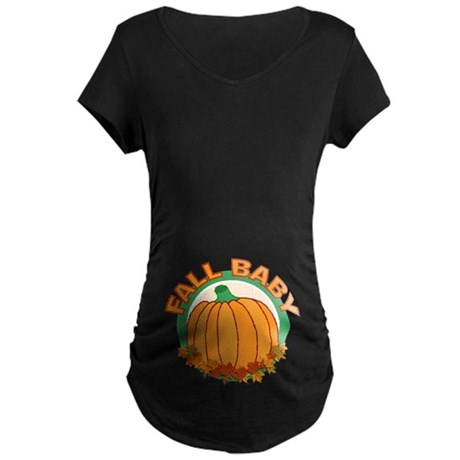 Fall Baby Pumpkin Maternity Dark T-Shirt