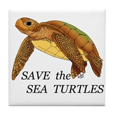 Save the Sea Turtles Tile Coaster