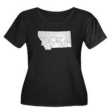Distressed Montana Silhouette Plus Size T-Shirt
