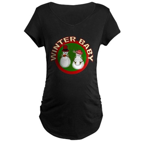 Winter Baby Snowman Maternity Dark T-Shirt