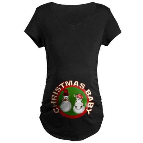 Christmas Baby Maternity Dark T-Shirt