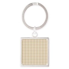 Light Brown White Gingham Pattern Keychains