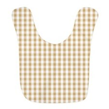 Light Brown White Gingham Pattern Bib