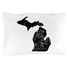 Distressed Michigan Silhouette Pillow Case