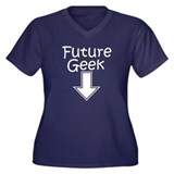 Future Geek Women's Plus Size V-Neck Dark T-Shirt