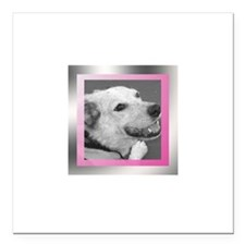 """Your Photo in a Silver Frame Square Car Magnet 3"""""""