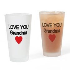 LOVE YOU GRANDMA WITH RED HEART Drinking Glass