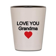 LOVE YOU GRANDMA WITH RED HEART Shot Glass