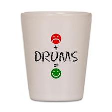 Plus Drums Equals Happy Shot Glass