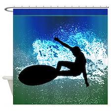 Surfing on Blue and Green Ocean Foam shower Shower