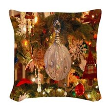 Vintage Holiday Decor Woven Throw Pillow