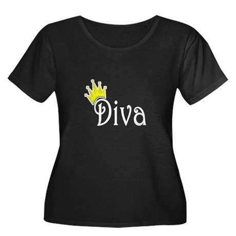 Diva Women's Plus Size Scoop Neck Dark T-Shirt