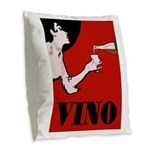 Vino Vintage Lady Burlap Throw Pillow