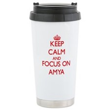 Keep Calm and focus on Amya Travel Mug