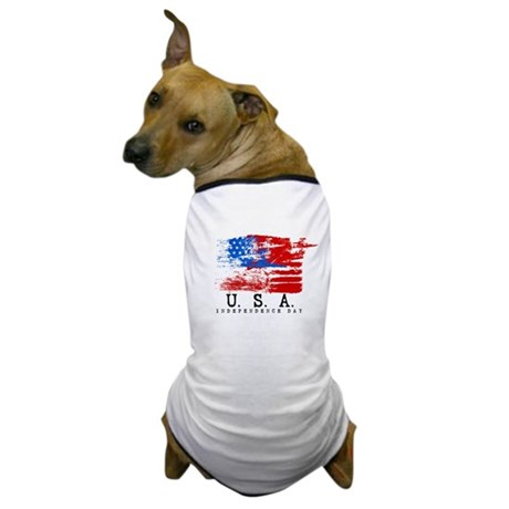 Grunge USA Flag Dog T-Shirt