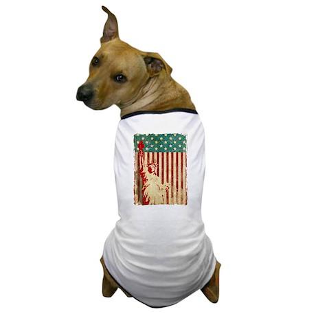 Vintage Style American Flag Dog T-Shirt