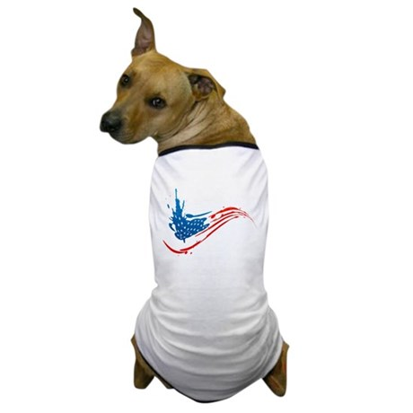 Abstract Paint American Flag Dog T-Shirt