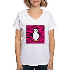 Penguin on Pink Zebra Stripes T-Shirt