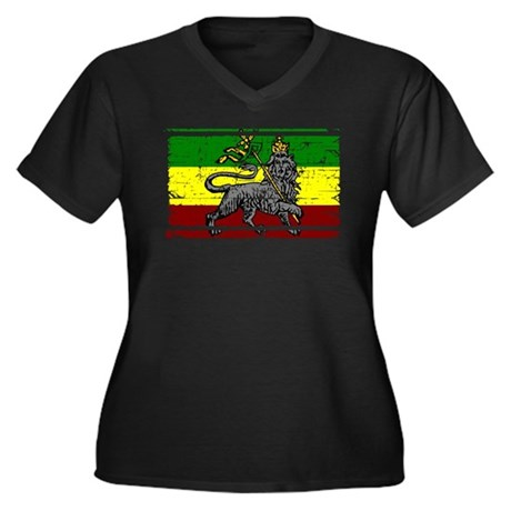 Grunge Rastafarian Flag Women's Plus Size V-Neck D