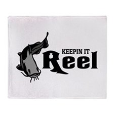 Cat Fish Keepin It Reel Throw Blanket