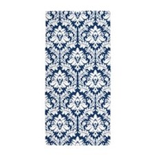Dark Blue Damask Pattern Beach Towel
