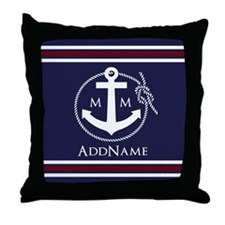 Navy Nautical Rope and Anchor Monogra Throw Pillow