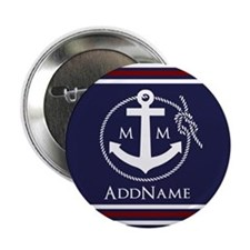 """Navy Nautical Rope and Anchor Monogra 2.25"""" Button"""