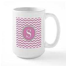 Any Letter, Pink White Gray Chevron Monogram Mugs