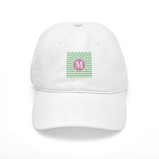 Any Letter, Pink and Green Chevron Monogram Baseball Cap