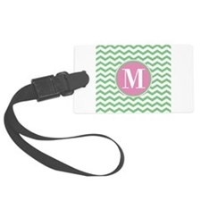 Any Letter, Pink and Green Chevr Luggage Tag