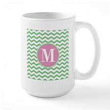 Any Letter, Pink and Green Chevron Mono Mug
